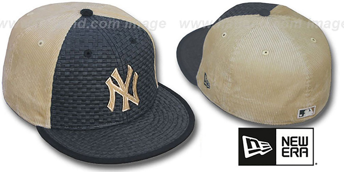 Yankees 'WEAVE-N-CORD' Fitted Hat by New Era - black-tan : pictured without stickers that these products are shipped with