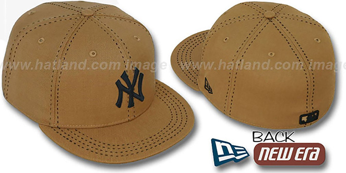 Yankees 'WHEAT PURSE STITCH' Fitted Hat by New Era : pictured without stickers that these products are shipped with
