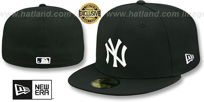 Yankees 'WHITE METAL-BADGE' Black Fitted Hat by New Era : pictured without stickers that these products are shipped with