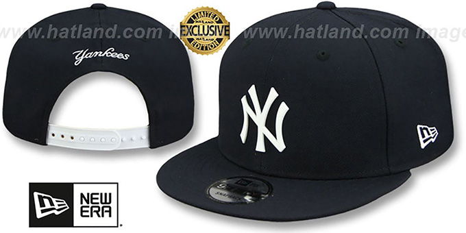e0389ba84 New York Yankees WHITE METAL-BADGE SNAPBACK Navy Hat by New Era