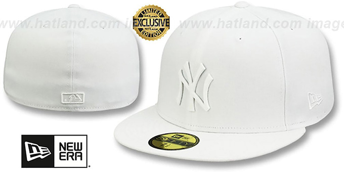 Yankees 'WHITE METAL-BADGE' White Fitted Hat by New Era : pictured without stickers that these products are shipped with