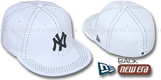 Yankees 'WHITE PURSE STITCH' Fitted Hat by New Era : pictured without stickers that these products are shipped with