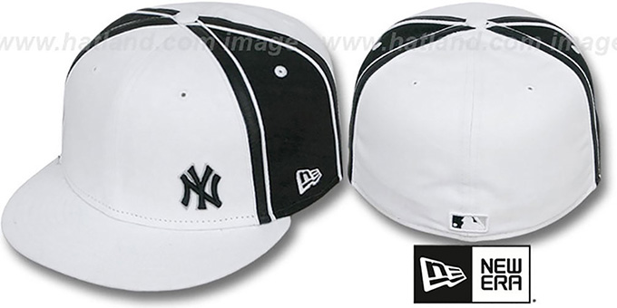 Yankees 'WILLIAM-III FLAWLESS' White-Black Fitted Hat by New Era : pictured without stickers that these products are shipped with