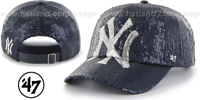Yankees 'WOMENS DAZZLE STRAPBACK' Navy Hat by Twins 47 Brand : pictured without stickers that these products are shipped with