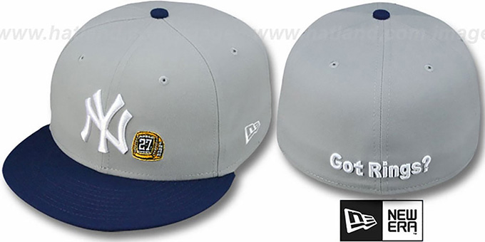 Yankees WS 'GOT RINGS' Grey-Navy Hat by New Era : pictured without stickers that these products are shipped with