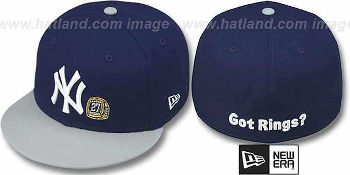 Yankees WS 'GOT RINGS' Navy-Grey Hat by New Era : pictured without stickers that these products are shipped with