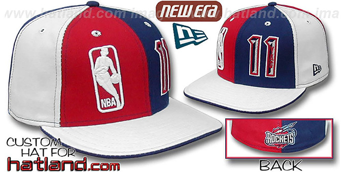 Yao Ming 'DOUBLE WHAMMY' Red-Navy-white Fitted Hat : pictured without stickers that these products are shipped with