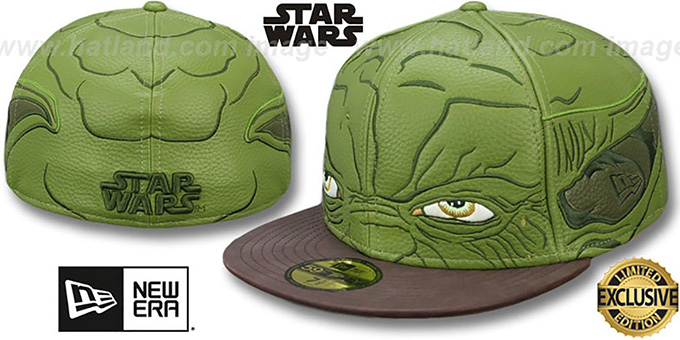 Yoda 'CHARACTER FACE' Fitted Hat by New Era : pictured without stickers that these products are shipped with