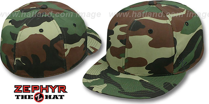 Zephyr 'BLANK CAMO' Army Fitted Hat : pictured without stickers that these products are shipped with