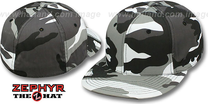 Zephyr 'BLANK CAMO' Urban Fitted Hat : pictured without stickers that these products are shipped with