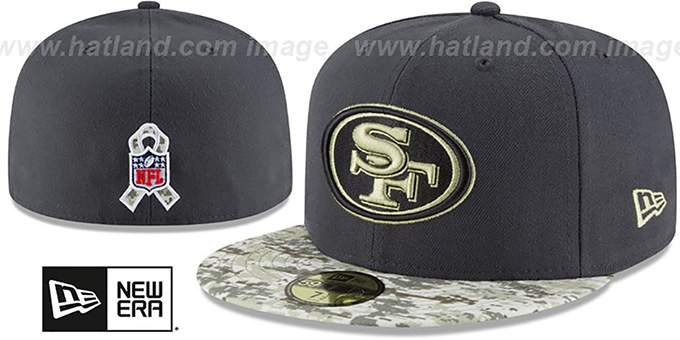 49ers '2016 SALUTE-TO-SERVICE' Grey-Desert Fitted Hat by New Era