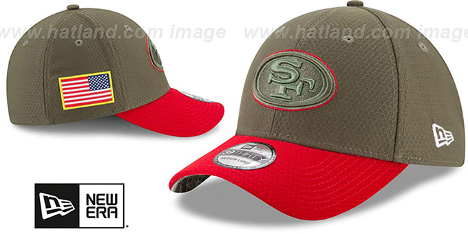 49ers '2017 SALUTE-TO-SERVICE FLEX' Green-Red Hat by New Era
