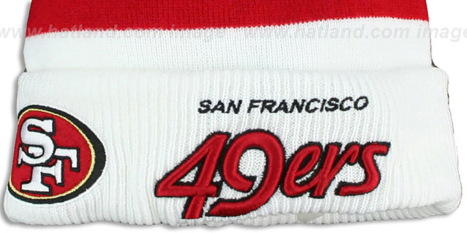 49ers 'CUFF-SCRIPTER' White-Red-Black Knit Beanie Hat by New Era