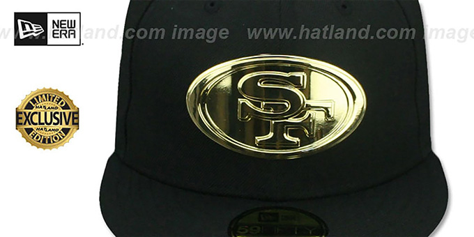 49ers 'GOLD METAL-BADGE' Black Fitted Hat by New Era