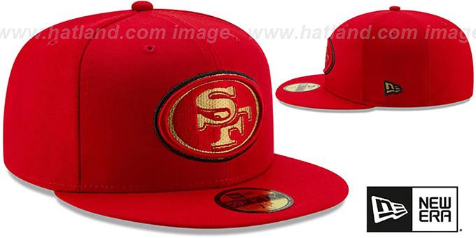 49ers 'GOLD METALLIC STOPPER' Red Fitted Hat by New Era