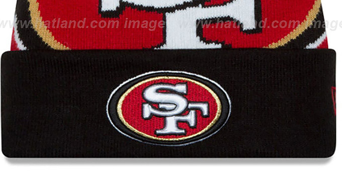 49ers 'LOGO WHIZ' Red-Black Knit Beanie Hat by New Era
