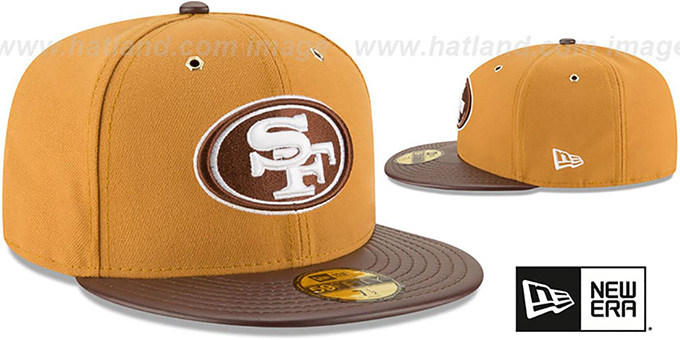 49ers 'METAL HOOK' Wheat-Brown Fitted Hat by New Era