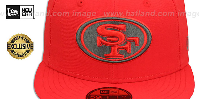 49ers 'NFL TEAM-BASIC' Fire Red-Charcoal Fitted Hat by New Era