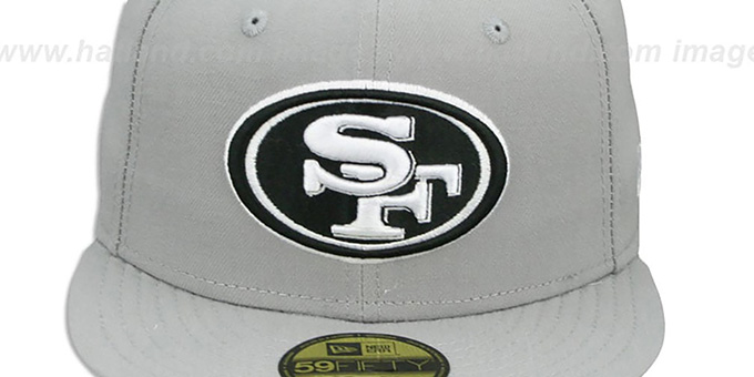 49ers 'NFL TEAM-BASIC' Grey-Black-White Fitted Hat by New Era