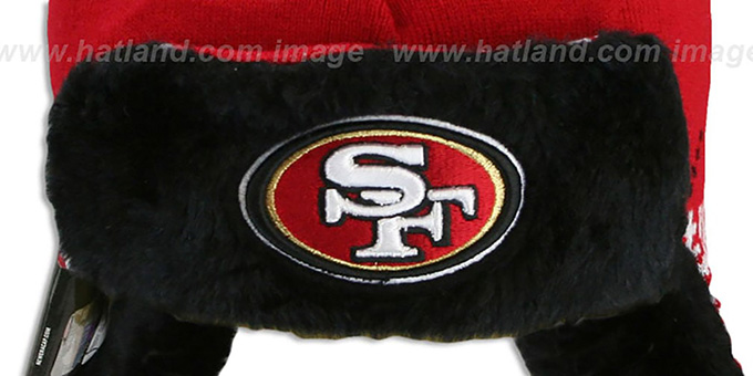 49ers 'SNOWFLAKE TRAPPER' Red-Black Knit Hat by New Era