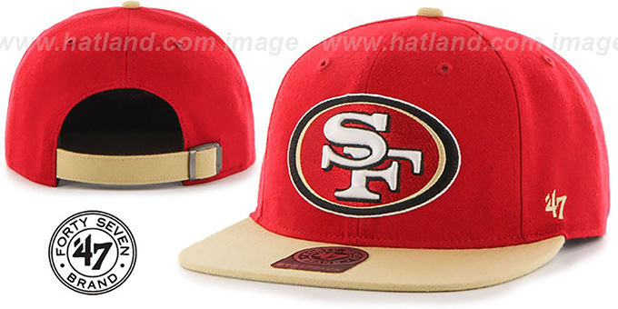 49ers 'SUPER-SHOT STRAPBACK' Red-Gold Hat by Twins 47 Brand