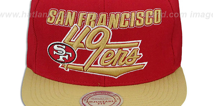 49ers 'TAILSWEEP SNAPBACK' Red-Gold Hat by Mitchell and Ness