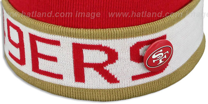 49ers 'THE-BUTTON' Knit Beanie Hat by Michell & Ness