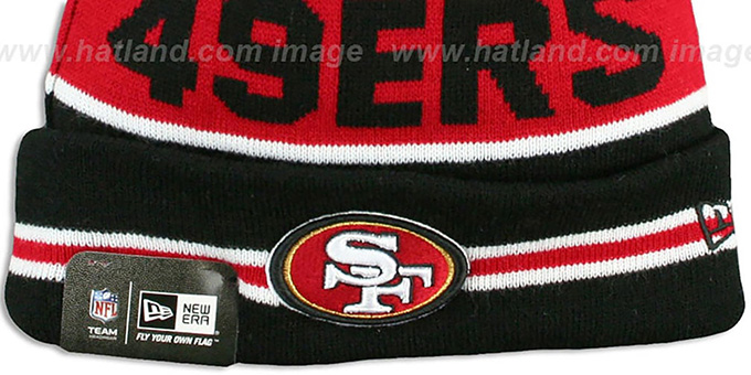 49ers 'THE-COACH' Black-Red Knit Beanie Hat by New Era
