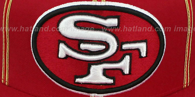 49ers 'XL-LOGO SOUTACHE SNAPBACK' Red Adjustable Hat by Mitchell & Ness