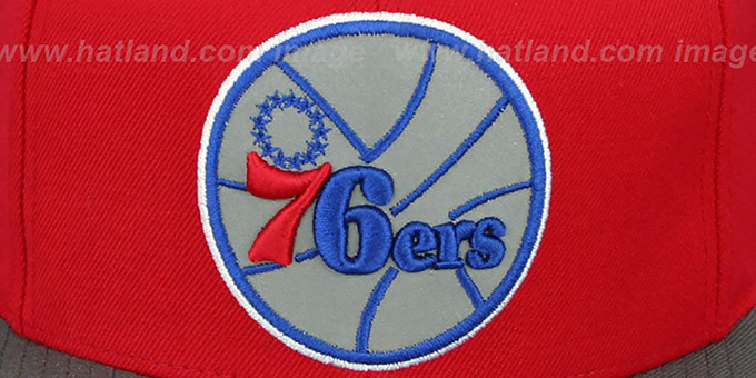 76ers '3M XL-LOGO SNAPBACK' Red-Grey Hat by Mitchell and Ness