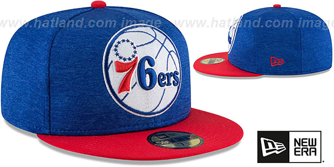 76ers 'HEATHER-HUGE' Royal-Red Fitted Hat by New Era