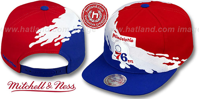 76ers 'PAINTBRUSH SNAPBACK' Red-White-Royal Hat by Mitchell & Ness