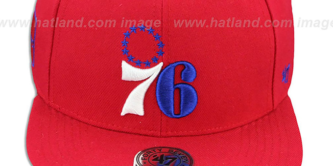 76ers 'SURE-SHOT SNAPBACK' Red Hat by Twins 47 Brand