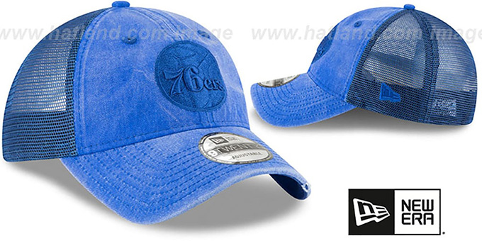76ers 'TONAL-WASHED TRUCKER SNAPBACK' Royal Hat by New Era