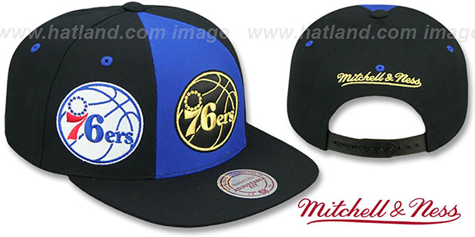 76ers 'TRIPLE STACK SNAPBACK' Royal-Black Hat by Mitchell and Ness