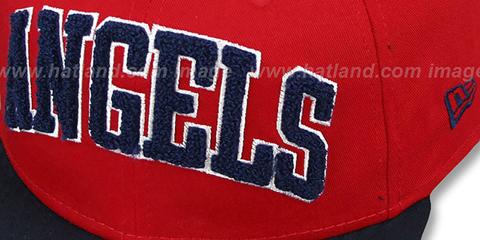 Angels 'CHENILLE-ARCH SNAPBACK' Red-Navy Hat by New Era