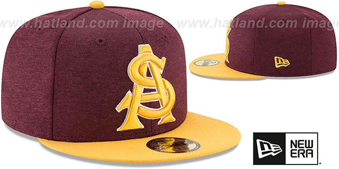 Arizona State 'HEATHER-HUGE' Burgundy-Gold Fitted Hat by New Era