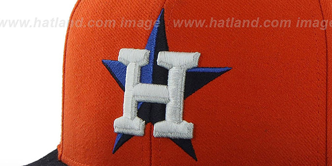 Astros COOP 'SURE-SHOT SNAPBACK' Orange-Navy Hat by Twins 47 Brand