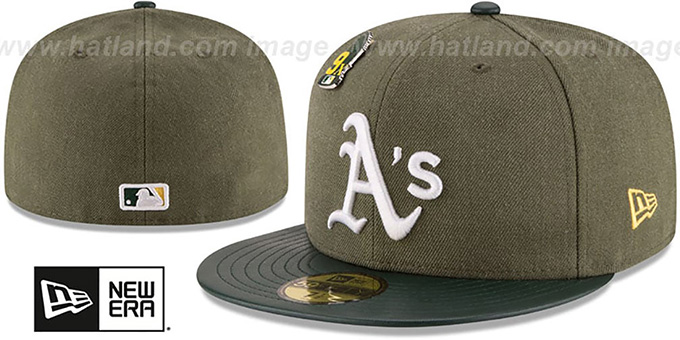 Athletics 9X 'HEATHER-PIN' Olive Fitted Hat by New Era