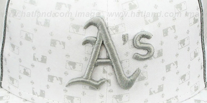 ... Athletics  MLB FLOCKING  MESH-BACK White Fitted Hat by New Era ... 4eb1ab4f0797