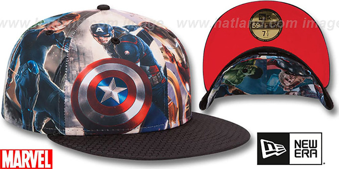 4093594e ... Avengers 'CHARACTER ALL-OVER' Multi-Black Fitted Hat by New Era ...