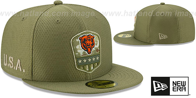Bears '2019 SALUTE-TO-SERVICE' Olive Fitted Hat by New Era