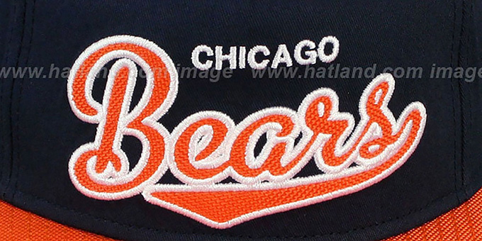 Bears 'BALLISTIC SCRIPT A-FRAME STRAPBACK' Navy-Orange Hat by New Era