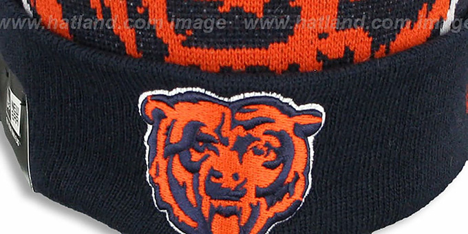 Bears 'NFL-BIGGIE' Navy Knit Beanie Hat by New Era