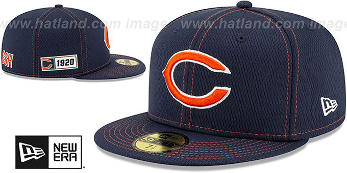 Bears 'ONFIELD SIDELINE ROAD' Navy Fitted Hat by New Era