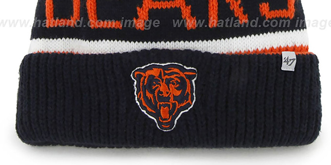 Bears 'THE-CALGARY' Navy-Orange Knit Beanie Hat by Twins 47 Brand