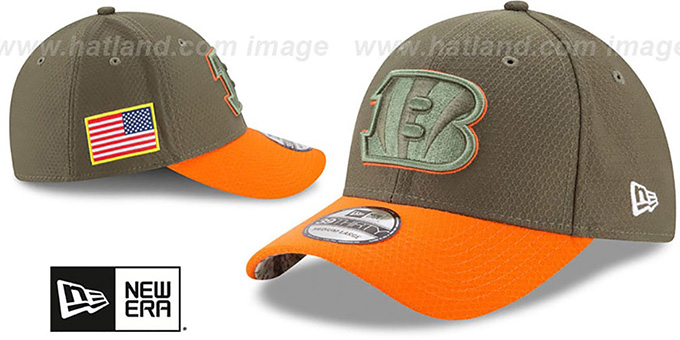 save off 72317 95299 ... Bengals  2017 SALUTE-TO-SERVICE FLEX  Green-Orange Hat by New ...