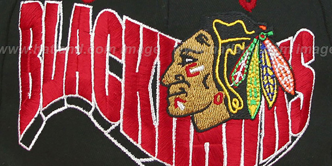 Blackhawks '2T FLASHBACK SNAPBACK' Black-Red Hat by Zephyr