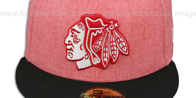 Blackhawks '2T-HEATHER' Red-Black Fitted Hat by New Era