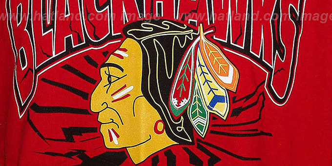 Blackhawks 'EARTHQUAKE' Red T-Shirt by Mitchell & Ness